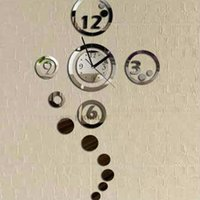 Wholesale Acrylic DIY Wall Clock Artistic Digit Clock Mirror Sticker Surface Silver New PLFL