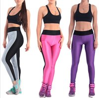 ab ladies - Sport Yoga Women Pants Leggings Hot Ladies European American Movement Faces New AB Surface Spell color Running Trousers