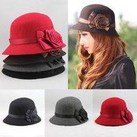 Wholesale Fashion Elegant Women Ladies Fedora Cloche Flower Rose Bucket Hat Headwear Gray