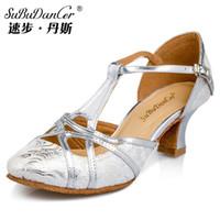 ballroom dance steps - Speed Step Dance Latin dance shoes women soft bottom hollow linen adults heeled shoes Cheap new plaza