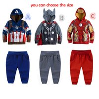 america suit jacket - Children Hoodies suits New Baby Boys Avengers Superhero Captain America thor iron man cosplay Hoodies Jacket trousers suits B001