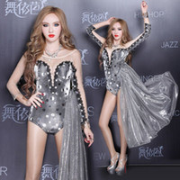 Wholesale Women Sexy Zentai Catsuit Sexy Costume New Sequin DJ Female Singer Concert Dance Teddies Sexy Clothes Stage Wear Sliver Show Leotards S M L