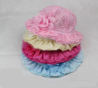Wholesale Summer New children s small bucket hats Baby Hat embroidery Net hole Princess hat Girl Lace Cap