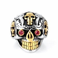 Celtic skull ring - Europe and America New Jewelry Rings For Men L Stainless Steel Jewelry Golden Skull Ring