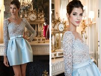Cheap Charming 2015 Long Sleeve Lace Prom Dresses Sash Illusion Sheer Scoop Satin A-Line Cheap Woman Dress Short Party Formal Dress Gowns C2812