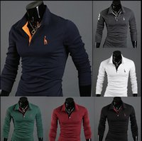 Wholesale Muscle Men Casual Slim Fit Long sleeve T Shirts shirts Top Color
