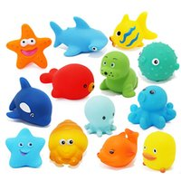 Cheap Baby Bath Toys Water Floating Dolls Animal Cartoon Yellow Ducks Starfish Children Swiming Beach Rubber Toy Kids Gifts