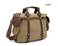 Moda Uomo Donna Canvas Rivet borsa casuale Messenger Borse Bussiness Travel Bag sacchetti di scuola del sacchetto casuale Quattro Trasporto-076 di colore libero