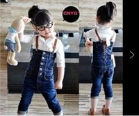 Cheap 2015 spring and autumn paragraph Korean band wrapped chest high waisted children bib jumpsuits the baby jeans pants