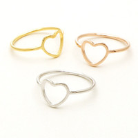 big fashion rings - Fashion valentines Jewelry Gold Silver Rose Gold Simple Geometrical Ring Simple Open Big Heart Ring