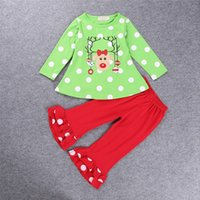 baby girl christmas tights - free ups fedex ship Toddler baby Christmas outfit pc set girls polka dot deer style t shirt tops baby ruffle pants tights