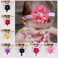 Cheap 2015 Children's heads with double lotus Flowers hair headband Headwear diamond hair accessories for kids baby girls