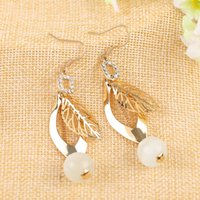 Wholesale Leaves pearl earring stud earrings Jewelry for the women to build pairs Order Z