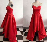 affordable high fashion - Real Image Gorgeous Red Satin Hi Lo Prom Dresses Ruffled Party Evening Gowns High Low Graduation Party Dress Affordable Vestidos Custom Made