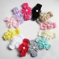 baby flowers delivery - Infant Flower Pearl Headbands Girl Lace Headwear Kids Baby Photography Props NewBorn Bow Hair Accessories Baby Hair bands Free delivery