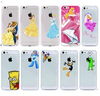 For Apple iPhone beauty beast cover - Beauty and the Beast Belle PRINCESS LURORA PC Clear transparent matte case for iphone s C S plus case back cover mix design