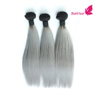 Cheap Staight Grey Hair Weave Ombre 1B Grey Human Hair Extensions Wholesale 3pcs Lot Brazilian Indian Malaysian Peruvian Straight Hair Bundles