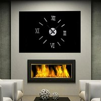 Wholesale Acrylic Roman Numerals Wall Clock Adhesive Decal Sticker Art DIY Home Decor Silver Black