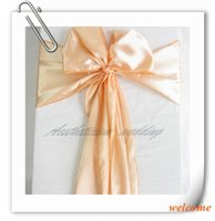 apricot peach - New Peach Apricot quot x108 quot Satin Chair Cover Sash Wedding Banquet Supply Decoration Many Colors