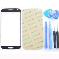 Wholesale MJJC Touch Screen Front Outer Glass Lens for Samsung Galaxy S4 i337 i545 i9500 i9505 Outer Glass Kits M Adhesive Tools Black White Blue Red