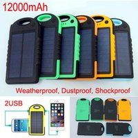 Wholesale Shockproof Waterproof mAh Solar Charger Battery Ports Solar Panel backup power bank Flashlight for Cell phone iphone Samsung S6