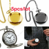steampunk pocket watch - 5pcs hot selling women men Retro Vine Style Steampunk Quartz Pendant Chain Clock Pocket Watch SV000494
