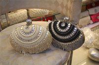 Wholesale 2016 New fashion elegant womens crystal pearl evening party clutch handbag