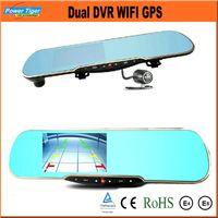 Wholesale car dvd Dual Lens Car Camera Recorder Full HD P quot LCD Car DVR WIFI GPS Tracker G sensor IR Night Vision Android Recorder Dash Cam