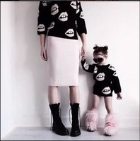 sexy clothing wholesale - 2015 Family Clothing Mother And Daughter Clothes Sexy Lips Mouth Crochet Sweaters Pullover Kids Girls Women Fashion Dress Blackwhite K4996