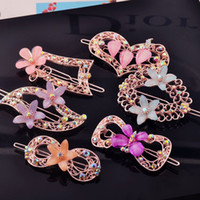 Wholesale 10pcs Luxury Fine Crystal Hair Clip Hairwear Word Folder Flower Rhinestone Barrettes For Women Girl Good Gift