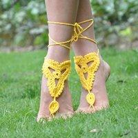 Wholesale Crochet Steampunk - Wholesale-N01166 &4 Piece Of Hot Selling Beach Accessories Crochet Barefoot Sandals Anklet Barefoot Sandles jewelry Steampunk Victorian