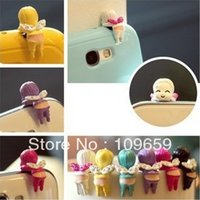 baby ear phones - Lovely face down angel baby Earphone ear cap plug phone dust Cap for mm plug mobile phone