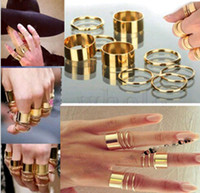 Cheap 1 Set 9PCS Punk Gold Plain Shiny Knuckle Midi mid Finger Tip Stacking Rings Free
