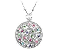 achat en gros de gros pendentifs cristal-Big Round Necklace 18K plaqué or autrichienne Swarovski Elements Crystal Colliers Pendentifs pour les femmes Bijoux Vintage 3546