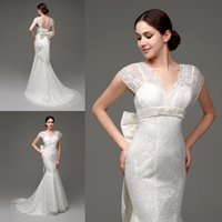 big cap stocks - 2015 Mermaid Lace Wedding Dresses In Stock Cap Sleeves Backless Bridal Gowns with Detachable Big Bow V Neck Designer Wedding Dress