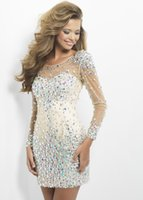 Wholesale Emma Ni New Arrival Sexy Cocktail Dresses Jewel Neck Illusion Frong Long Sleeves Glitz Crystal Beaded Sheath Champagne Short Prom Gown