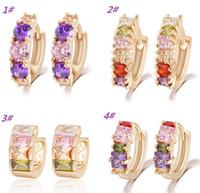 Wholesale 2015 New Women Girls color crystal Hoop earrings personalized stud earrings dazzle color rhinestone earring studs