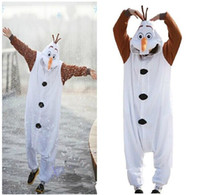 Wholesale Halloween Olaf Snowman Unisex Pajamas Onesie Party Cosplay Costumes Christmas Dresses S M L XL new superb dorp shipping