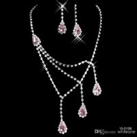 pink wedding ring - Light Pink Rhinestone Bridal Jewelry Sets Earrings Necklace Crystal Bridal Prom Party Pageant Girls Wedding Accessories Cheap B