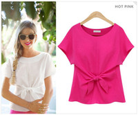 Wholesale 2016 Newest Women Chiffon Blouse crew neck short Sleeve elegant Women Tops Solid bow Shirts Plus Size