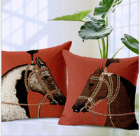 Wholesale home style Royal Horse theme thick cotton and lien mordern minimalist office pillow case home sofa car cushioncase cm