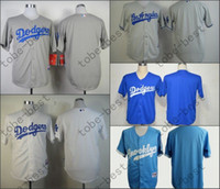 angeles names - Cheap Los Angeles Dodgers LA Blank Baseball Jerseys No Name No Number White Blue Gray Men s Sport Shirts Fast Delivery