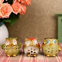 candles and candle holders - MINI Owl Color Aroma Burner Ceramic Candle Holder Aromatherapy Furnace Lamp Burner Fragrance Lamp Container Home and Garden Decoration DC835