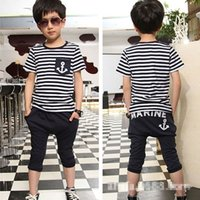 Wholesale 2015 Baby Kids Boys Cool Sailor Clothes Tees T shirt Pants Outfits Y