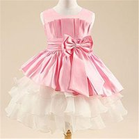 Wholesale Retail girl dress girl s party High grade Princess dresses kids chiffon Big bowknot dresse summer childrens clothing dress HA070
