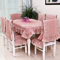 Wholesale 2016 New Luxury Solid Color Lace Polyester Tablecloths Sets For Home Restaurant Lace Table Covers Chair Cover Table Linen Cream Pink