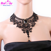 Wholesale sexy lady gothic style jewelry charms lace chain necklace pendant shorts buatuy women items fashion chunky black choker BMY1106