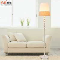 Wholesale Modern Light Floor Lamps Fixtures Fabric Standing Lamps Simple Korean Style Wrought Iron Art Light Poles Standing Indoor Lightings