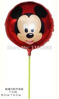 aluminium poles - New arrivel inch mickey mouse balloon with pole and cup for birthday party Aluminium helium balloon
