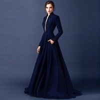beaded shirt patterns - 2016 Evening Dresses Long Sleeves Elegant Navy Blue Dress Evening Wear Sexy Deep V Neck Beaded Embroidery A Line Long Formal Gowns